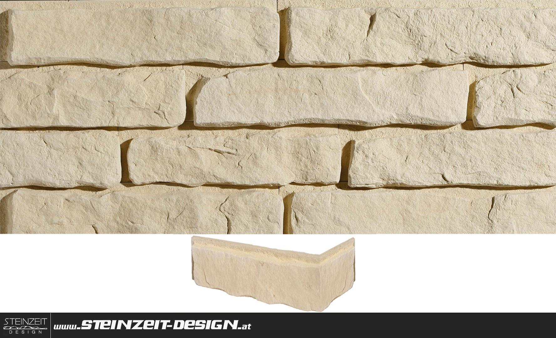Steinzeit Design   Ziegel-Riemchen STEGU Santorini 1 Eckmodule